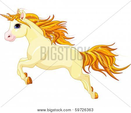 Illustration of running beautiful unicorn