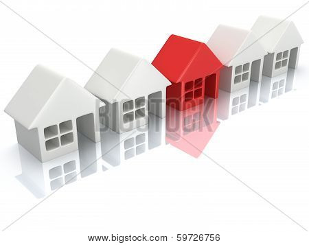 Row of white blank houses with red one.