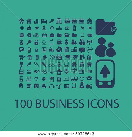 100 flat business, office icons, signs set, vector