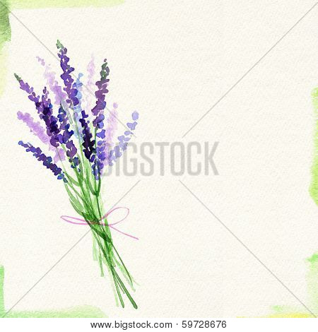 Painted watercolor card with lavender bouquet