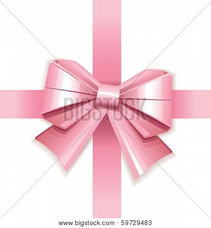 Pink vector gift bow