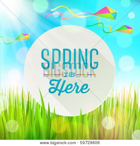 Spring greeting round banner against a outdoor landscape with fresh grass and colorful kites - vector illustration