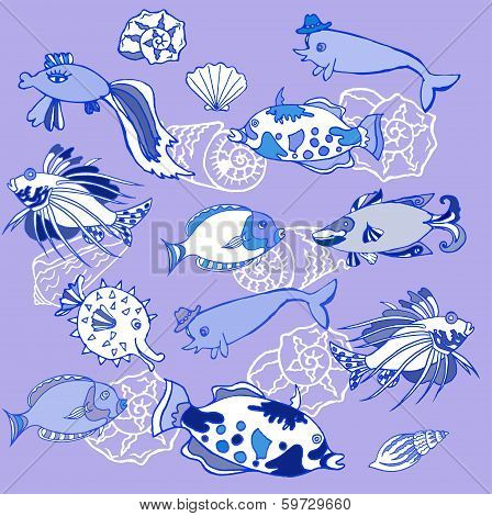 Background With Blue Fishes And Cockleshells