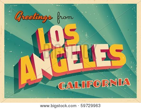 Vintage Touristic Greeting Card - Los Angeles, California - Vector EPS10. Grunge effects can be easily removed for a brand new, clean sign.