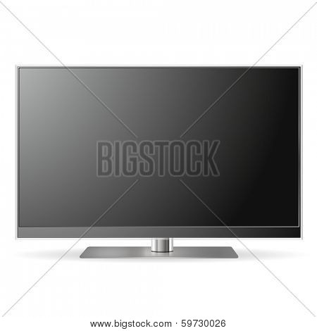 Realistic vector illustration of high definition TV screen isolated on white background.