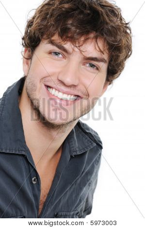 Happy Man With Healthy White Teeth