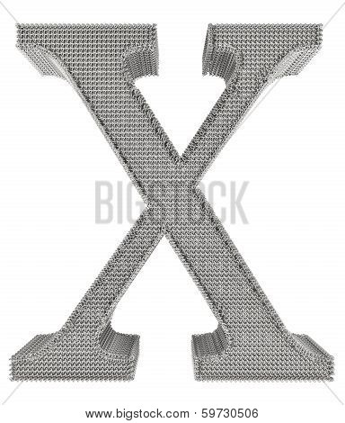 Chain Link Steel Alphabet - X