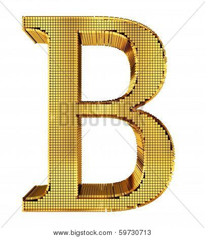 Rich Golden Cube Alphabet - B