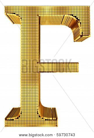 Rich Golden Cube Alphabet - F