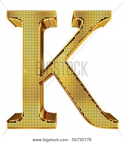 Rich Golden Cube Alphabet - K