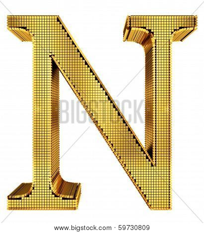 Rich Golden Cube Alphabet - N