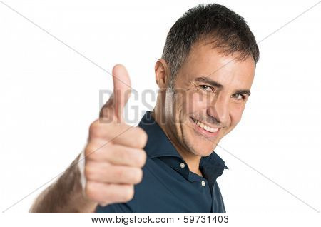 Satisfied Positive Man Gesturing Ok Sign Isolated On White Background