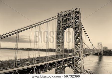 George Washington Bridge black and white over Hudson River.