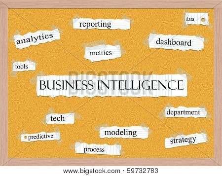 Business Intelligence Corkboard Word Concept