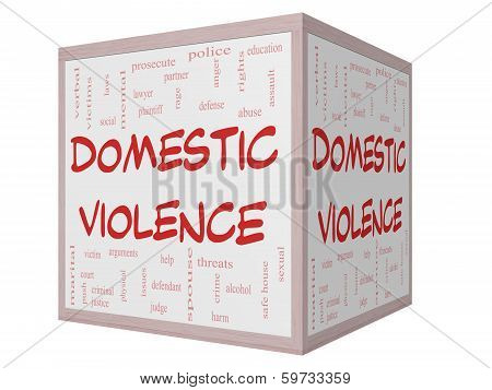 Domestic Violence Word Cloud Concept On A 3D Cube Whiteboard