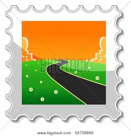 Road into the unknown stamp