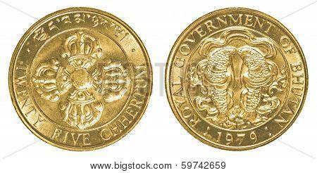 Twenty Five Bhutanese Chhertum Coin