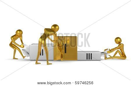Golden Characters Tearing Podium. Front View