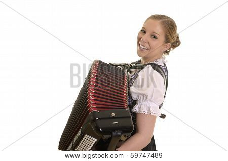 Pretty Young Dirndl Woman Playing Accordion