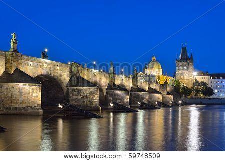 Vltava River, Charles Bridge And Old Town Bridge Tower In Prague