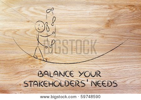Balancing Your Stakeholders' Needs: Funny Character Juggling