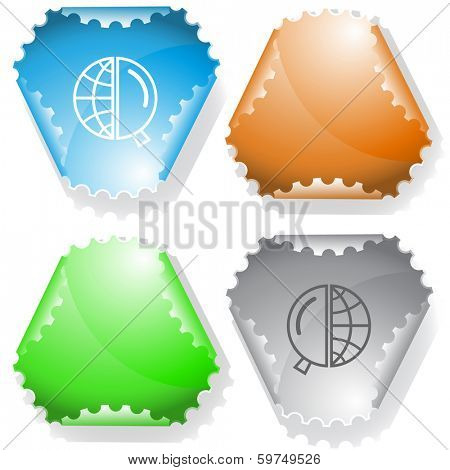 Globe and magnifying glass. Raster sticker. Vector version is in my portfolio.