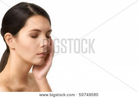 Tired Woman Relaxing With Closed Eyes
