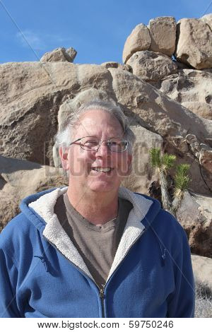 Smiling Retired Man on Vacation in Joshua Tree National Park California