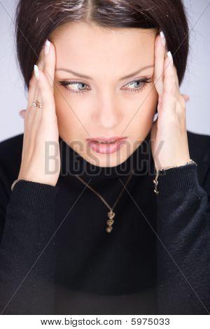 Beautiful Young Woman Having Headache