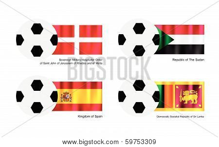 Soccer Ball With Malta, Sudan, Spain And Sri Lanka Flag