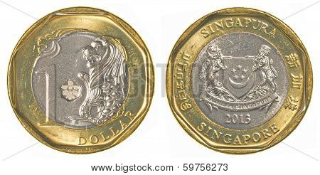 One Singaporean Dollar Coin