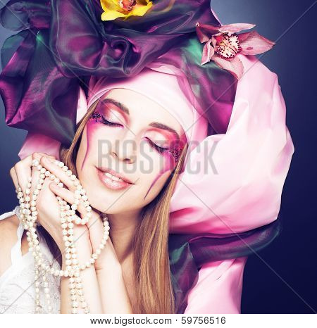 Young lady with orchids