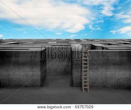 Maze With Wooden Ladder And Blue Sky