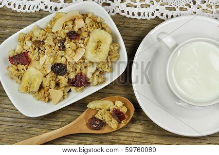 Muesli cereals and milk