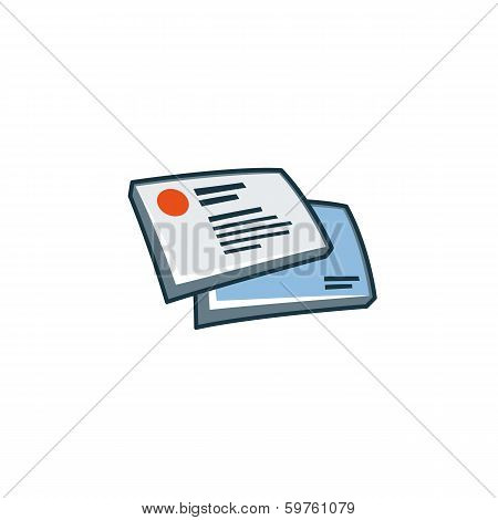 Business cards icon in cartoon style