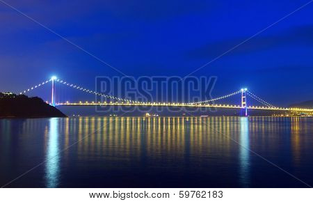 Tsing ma suspension bridge in Hong Kong