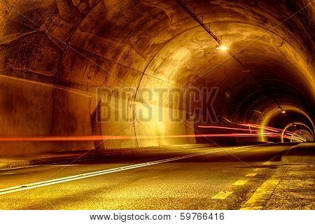 Tunnel At Night With Mystical Lights