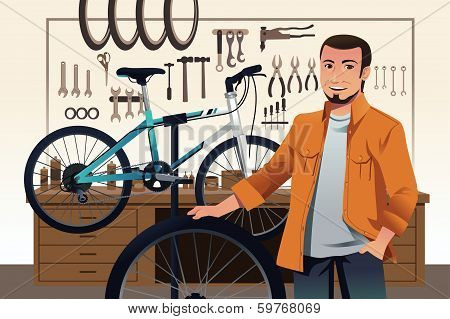Bicycle Store Owner In His Bike Repair Shop