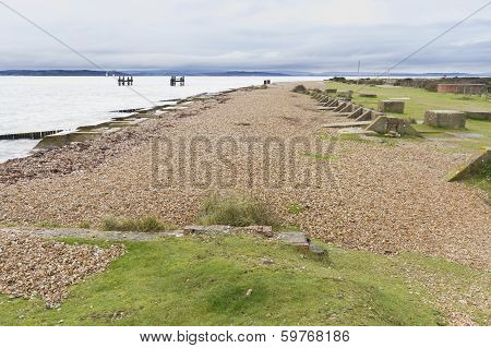 Lepe Beach,wwii  Launch Point For Mulberry Harbours And Departure Of D-day Troops.