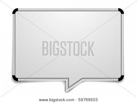 detailed illustration of a blank whiteboard in a shape of a speech bubble, eps10 vector