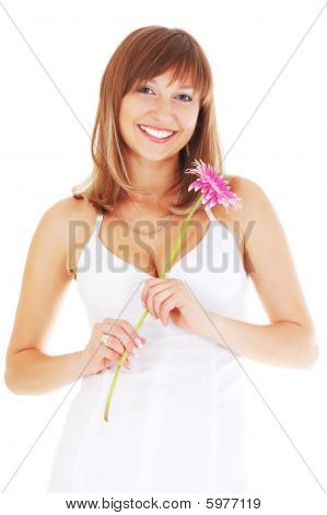 Happy Woman With Flower