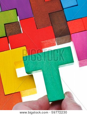 Placing T-shaped Piece In Wooden Puzzle