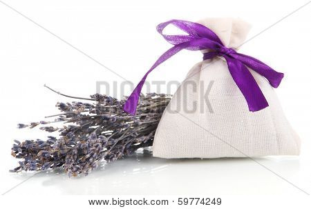 Textile sachet pouch with dried lavender flowers isolated on white