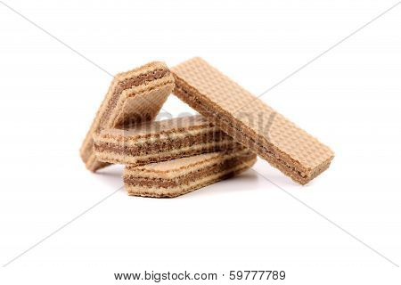 Stake of wafers with chocolate.