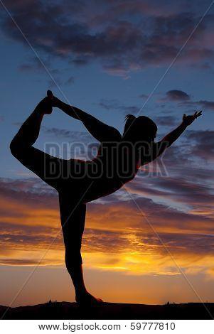 Beautiful Silhouette Of Female Model In Yoga Pose
