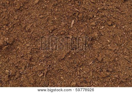 Peat Turf Macro Closeup, Large Detailed Brown Organic Humus Soil Background Pattern, Horizontal