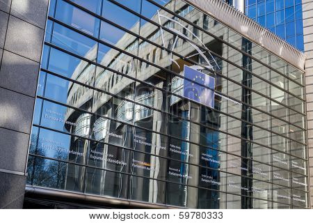 Brussels, Belgium, -January 14, 2014: Photo of European Parliament. Meetings of the whole Parliament ('plenary sessions') take place in Brussels.