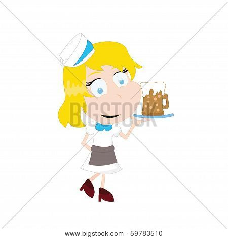 Cartoon Girl Waitress