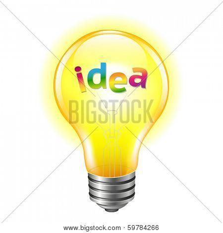 Bulb With Text Idea, With Gradient Mesh, Vector Illustration