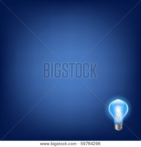 Blue Bulb With Background, With Gradient Mesh, Vector Illustration